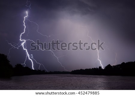 Thunder, lightnings and rain during storm over river and forest at night.