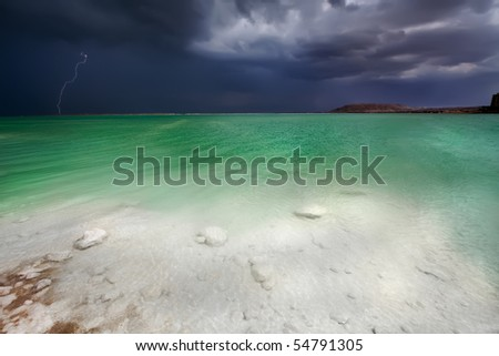 Thunder-storm on the Dead Sea, Israel - stock photo