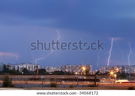 Thunder storm over the city - stock photo