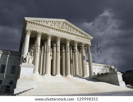 Thunder storm sky over the United States Supreme Court building in Washington DC. - stock photo