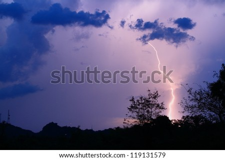 Thunderbolt at Phetchaburi Province Thailand - stock photo