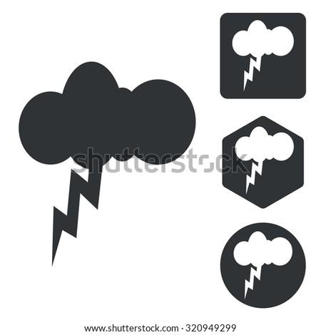 Thunderbolt icon set, monochrome, isolated on white - stock photo
