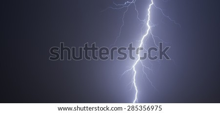 Thunderbolt strike on the sky at night time