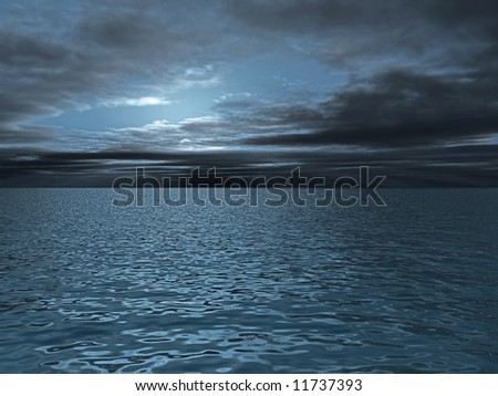 thunderclouds above the marine waves of turquoise - stock photo