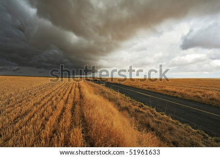 Thunderclouds and sunset. Montana, the USA - stock photo