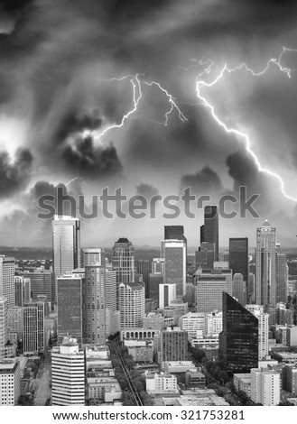 Thunderstom over Seattle skyline, Washington State, USA. - stock photo
