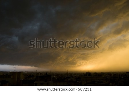 Thunderstorm at Salonica. - stock photo
