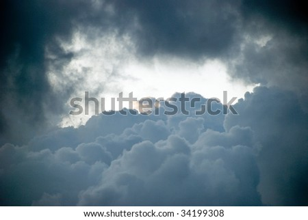 Thunderstorm clouds of a low pressure zone. - stock photo