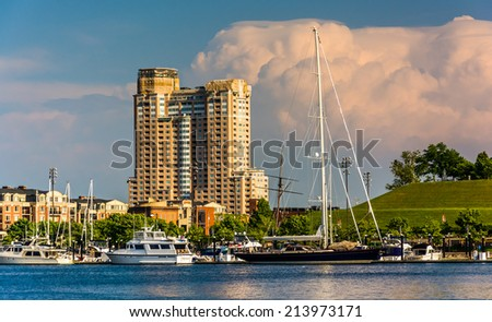 Thunderstorm clouds over Federal Hill and the Inner Harbor of Baltimore, Maryland. - stock photo