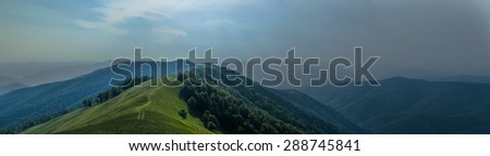 thunderstorm is coming in mountains Ukraine carpathian - stock photo