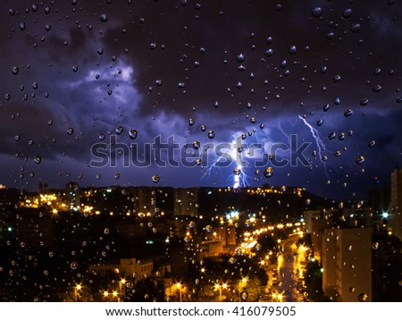 Thunderstorm outside the window - stock photo