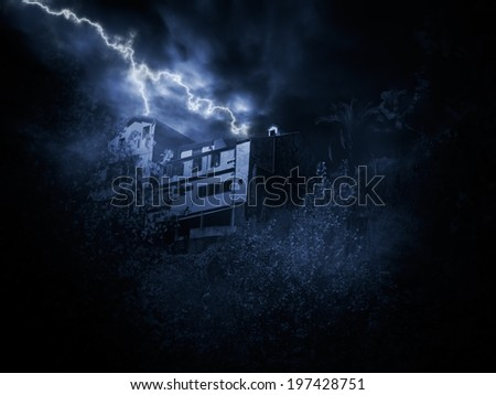 Thunderstorm over house on a hill - stock photo