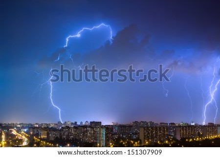 Thunderstorm over the city - stock photo