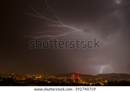 Thunderstorm over the city