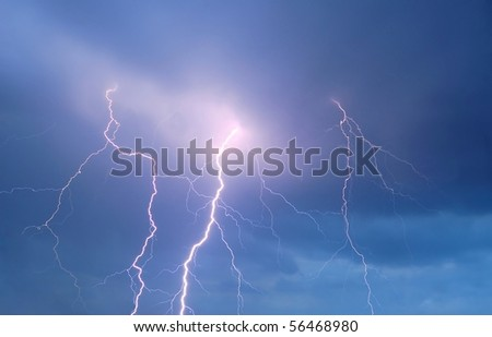 Thunderstorm Sky with Strong Lightning - stock photo