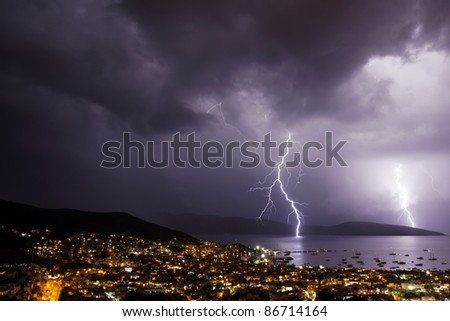 Thunderstorm with lightning over the city of Bodrum in Turkey