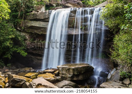 thung na muang waterfall  in the rainforest on ubon ratchathani, Thailand  - stock photo