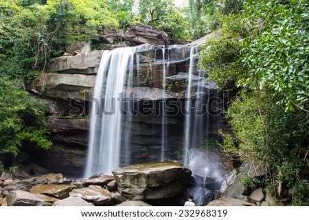 Thung Na Muang Waterfall , Ubon Ratchathani in thailand - stock photo