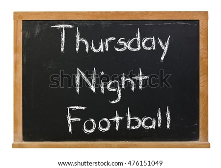 Thursday Night Football written in white chalk on a black chalkboard isolated on white