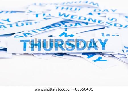 Thursday word texture background. - stock photo