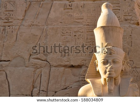 thutmosis statue at karnak temple, egypt - stock photo