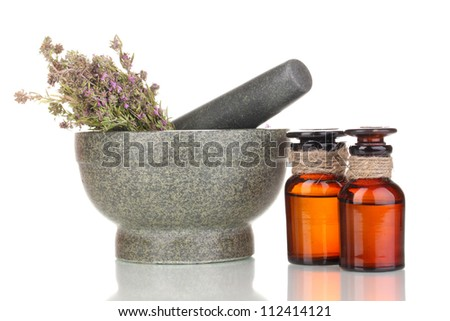 Thyme herb and mortar isolated on white - stock photo