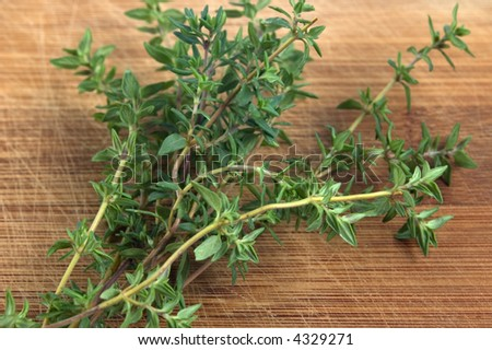 thyme on a chopping board