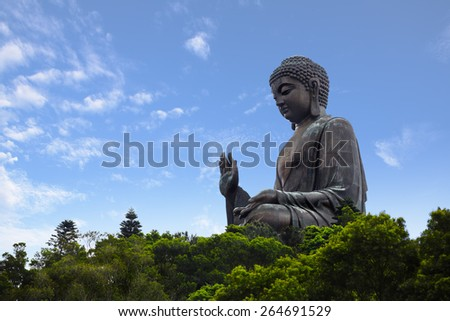 Tian tan buddha the world's tallest outdoor seated bronze buddha located in hong kong - stock photo