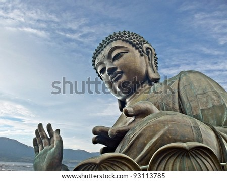 Tian Tan Giant Buddha from Po Lin Monastery - A key sightseeing spot and landmark on Lantau Island, Hong Kong China - stock photo