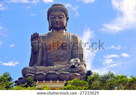 Tian Tin Buddha - the worlds's tallest outdoor seated bronze Buddha located in Hong Kong. - stock photo