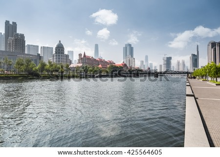 tianjin cityscape, beauty riverside of the haihe river, China