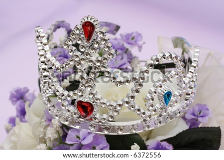Tiara on flowers - on a bridal bouquet