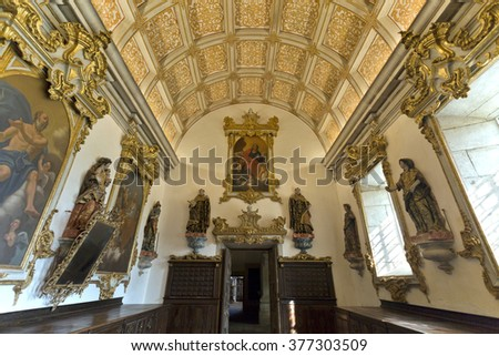 TIBAES, PORTUGAL - SEPTEMBER 22, 2015:  View of the magnificent Sacristy of church of the Monastery of Sao Martinho, on September 22, 2015, in Tibaes, Portugal