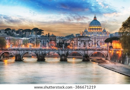 Tiber and St Peter Basilica in Vatican with rainbow, Rome - stock photo