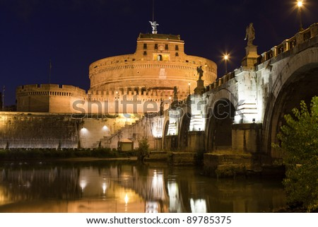 Tiber bank, arch stone bridge and reflection, museum, ancient Adrian mausoleum and medieval castle Saint Angel with statue archangel Michael  in Rome Italy at twilight - stock photo