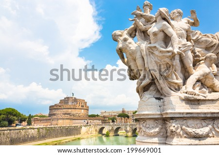 Tiber river and Sant Angelo Castle and Bridge in Rome, Italia.  - stock photo