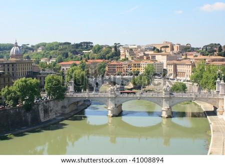 Tiber River in Rome - stock photo