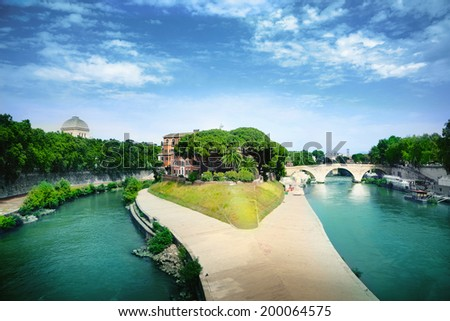 Tiberina island - stock photo