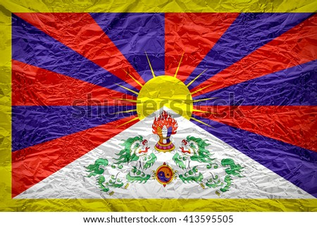 Tibet flag pattern overlay on floyd of candy shell, vintage border style