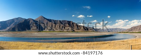 Tibet Landscape Panorama - stock photo