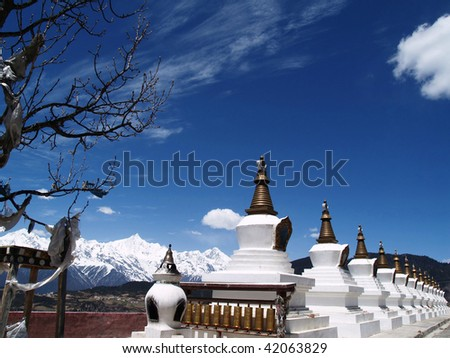 Tibet, row of stupas, Deqen County, Yunnan, China