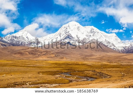 Tibet scene. Mt.Qungmogangze. Taken in the way from Shigatse to lhasa of tibet. Mt.Qungmogangze is elevation 7048m