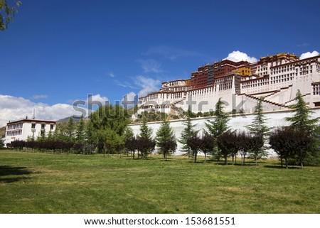 Tibet the Potala Palace lawn - stock photo