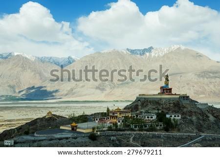 Tibetan Buddhist monastery in Leh Ladakh, India. - stock photo