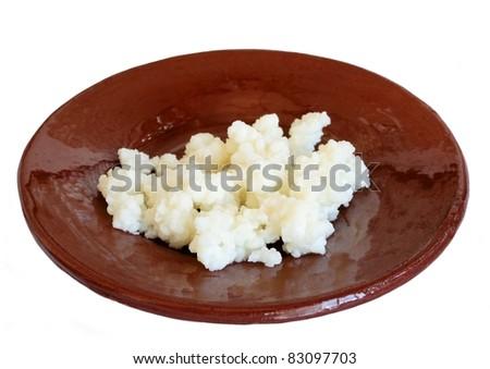 Tibetan Milk Mushroom on ceramic little plate - stock photo