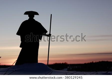 Tibetan monk way of the warrior - stock photo