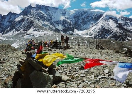 Tibetan prayer flags at Shingo-La pass, Padum Trek, Ladakh, India.