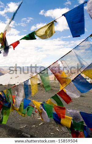 Tibetan Prayer Flags, Himalayas, India - stock photo