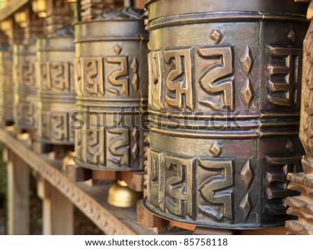 tibetan prayer wheel - stock photo