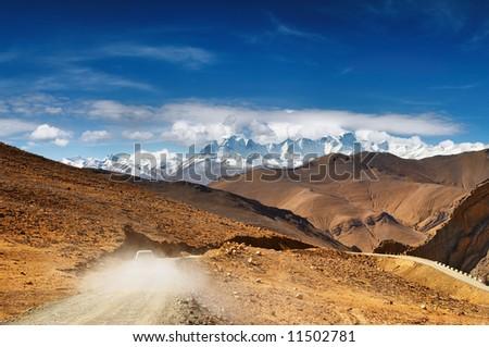 Tibetan road - stock photo